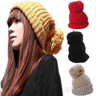 Women's Girl's Winter Slouch Knitting Cap Warm Beanie Crochet Ski Hat New Hot