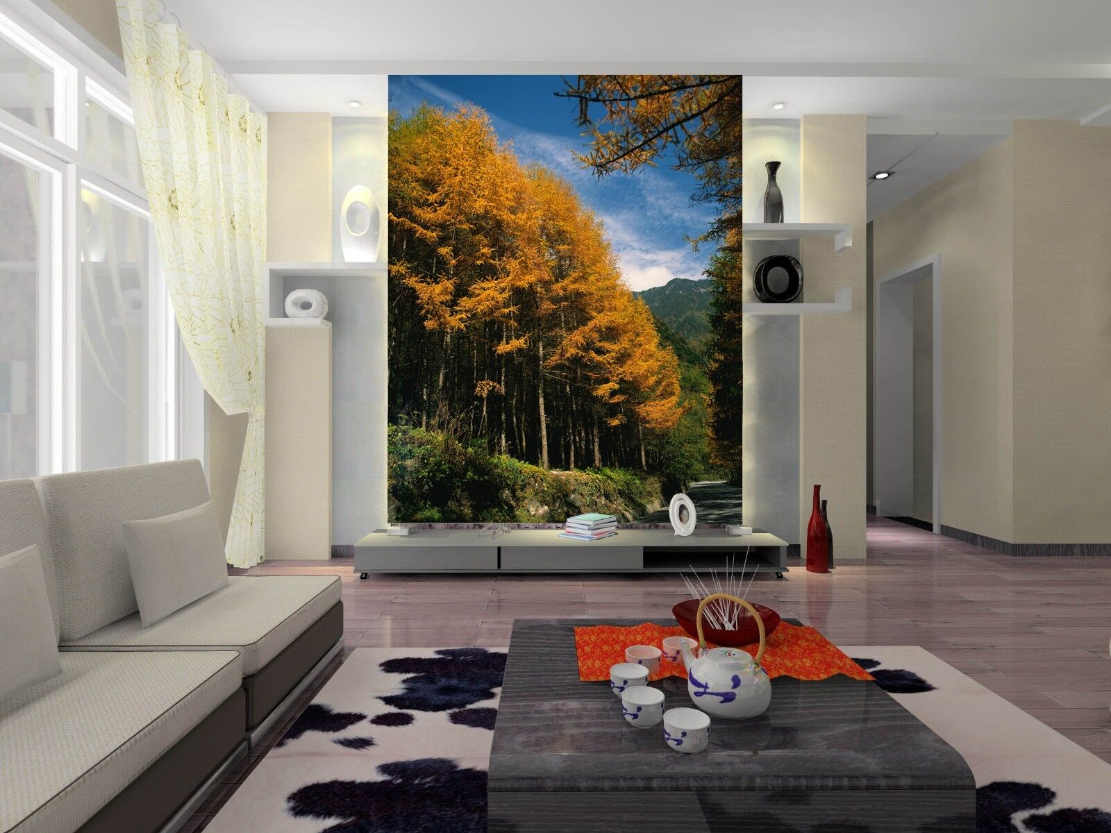 3D  Forest Yellow Leaves Paper Wall Print Wall Decal Wall Deco Indoor Murals