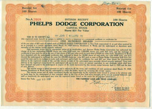 Phelps Dodge Corporation Stock Certificate Mining New York Orange