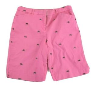 Charter-Club-Bermuda-Chino-Size-12-LG-PINK-Stretch-Embroidered-Bicycles-Bikes