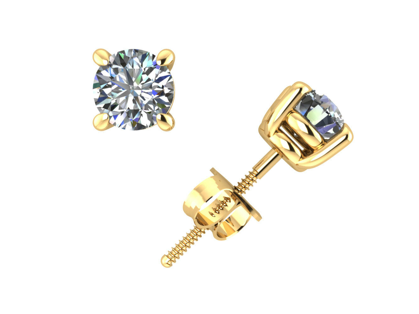 Real 0.75Ct Round Diamond Basket Stud Earrings 18k Yellow gold Prong Set H SI2