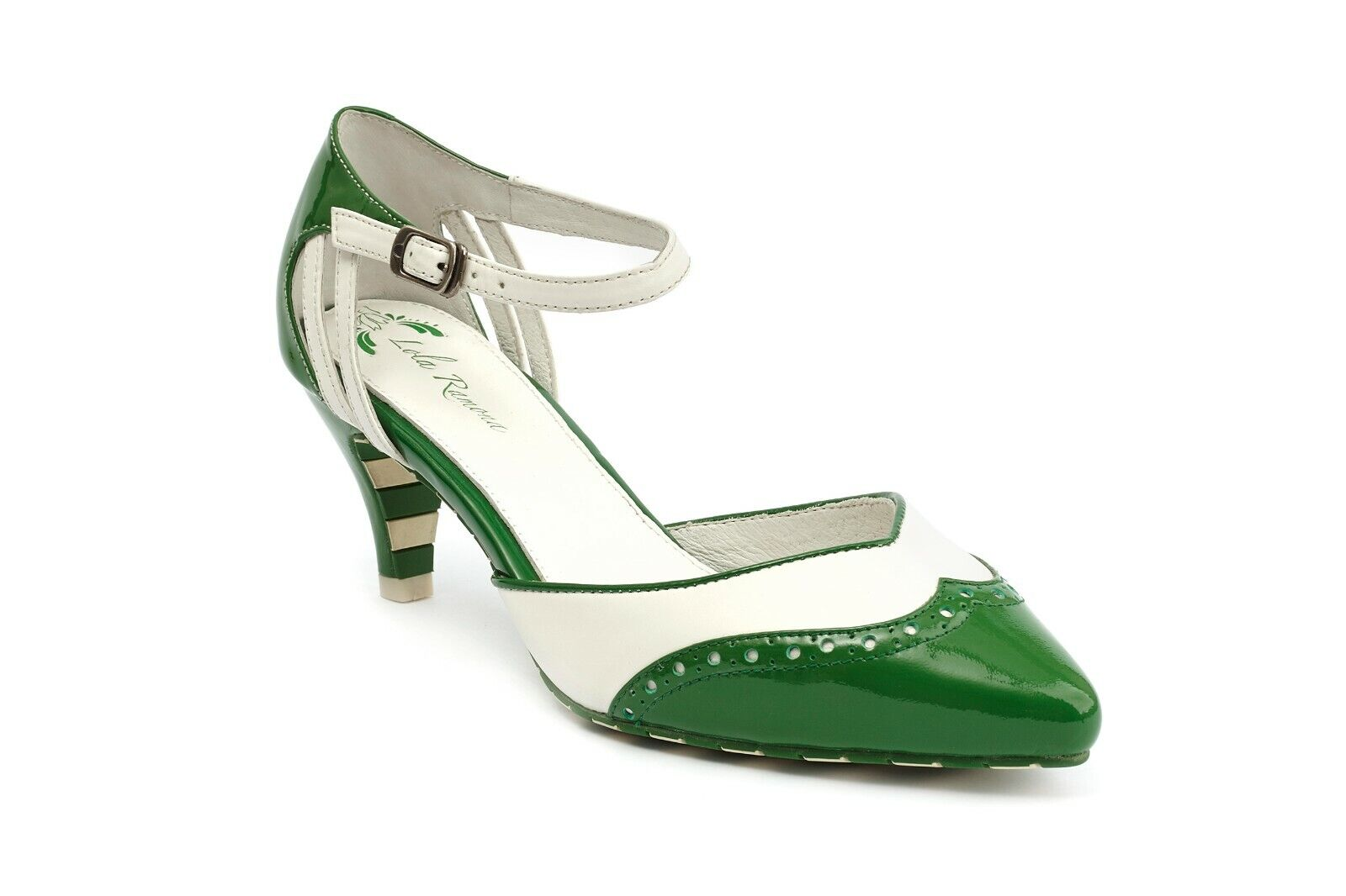 Lola Ramona Kitten Green White Pointed Toe Pump with Brogue detail