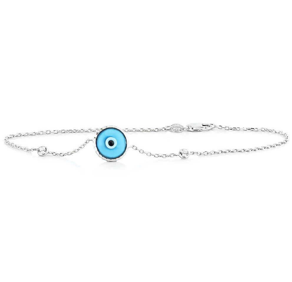 14K White gold Evil Eye Bracelet With Diamonds - Florescent bluee 7.5 Inches