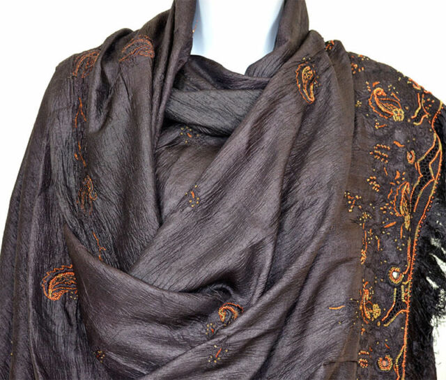 Pure Silk Hand Embroidered Vintage Long Stole, Wrap, Dupatta, Veil Brown Color