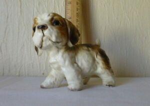 Vintage-Cocker-Spaniel-Puppy-Dog-Figurine-Black-White-Brown-Color
