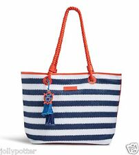 VERA BRADLEY Striped Tote NAVY TURTLES Large Straw Bag Beach Pool NAUTICAL $68!