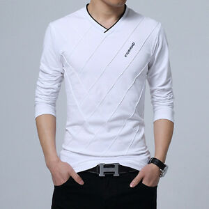 New Mens V-Neck Long Sleeve T Shirts Men Slim Fit Casual Cotton T ... 96a8f117cf4