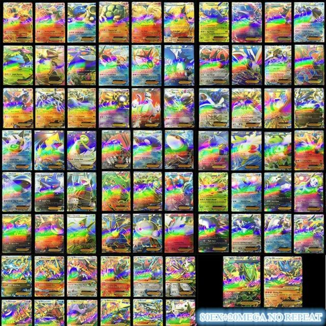 Hot 100 High Attack Power Gx20 Ex80 Paper Pokemon Cards Tcg Flash Card No Repeat For Sale Online Ebay