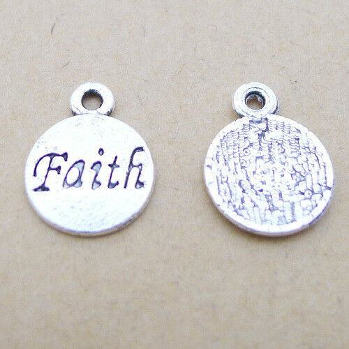 50pcs Wholesale Charms Faith Word Disc Old Silver Beads Pendant DIY 12*15mm