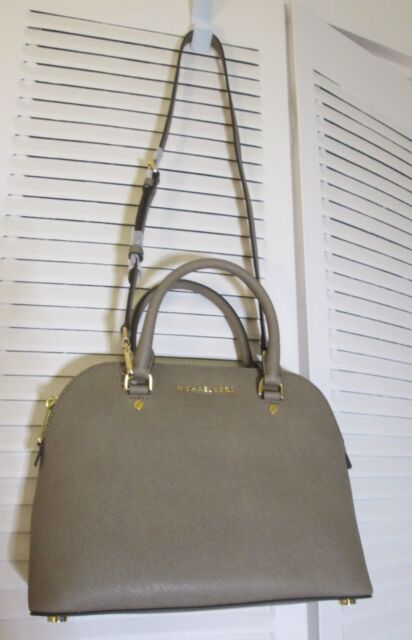 d1ae99813a Michael Kors womens Medium Dome CINDY Satchel Saffiano Handbag Bag Dark Dune  NWT