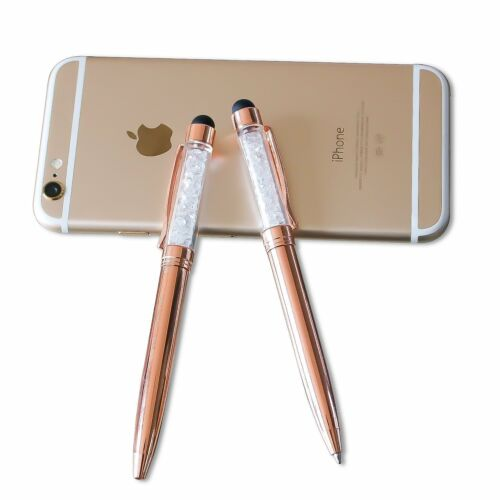 2 PACK 2-in-1 Rose Gold Crystal  Capacitive Touch Screen Stylus /& Ballpoint Pen