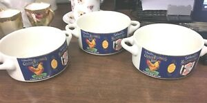 Fabled-Labels-Archives-Inc-1982-Set-of-3-5-034-Stacking-Handled-Soup-Bowls