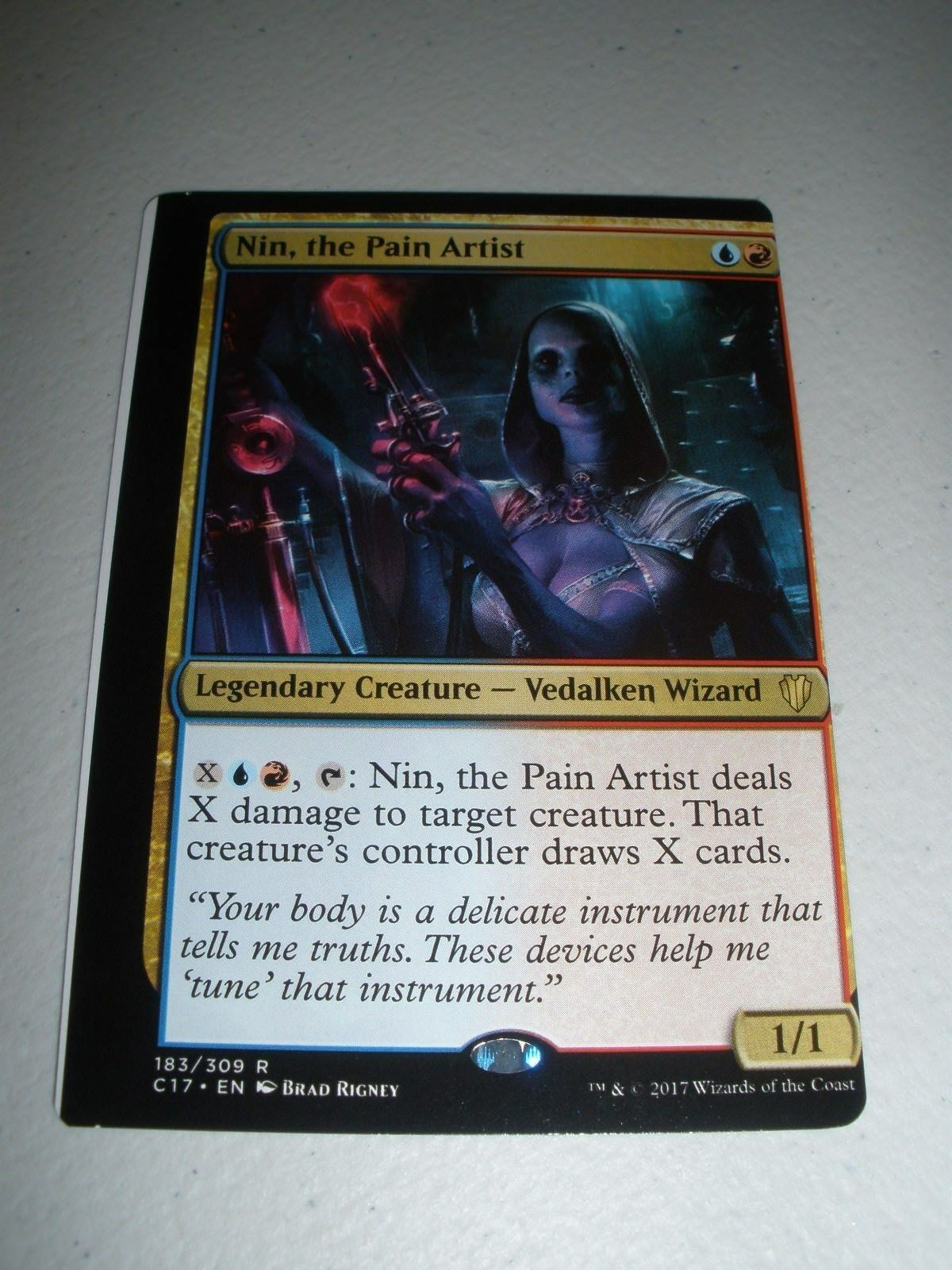 MTG Magic Commander Miscut Misprint Nin, the Pain Artist x1 (Sheet Edge) NM