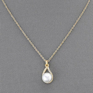 Gold simple chain pearl small clear stone pendant elegant necklace image is loading gold simple chain pearl small clear stone pendant aloadofball Choice Image