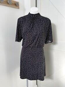Mango Basics Black White Polka Dot Night Neck Short Sleeve Dress Size Small