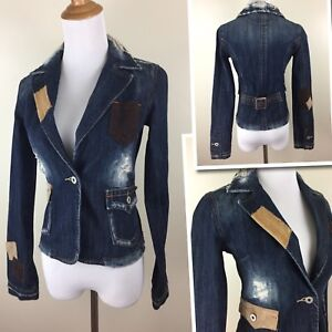 Me Miss Nwot Womens Denim Xs Beige Patches Jacket Dark Brown Fitted xxs RUxq5
