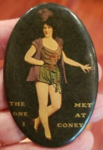 Early 1900's The One I Met at CONEY ISLAND Pocket Advertising Mirror