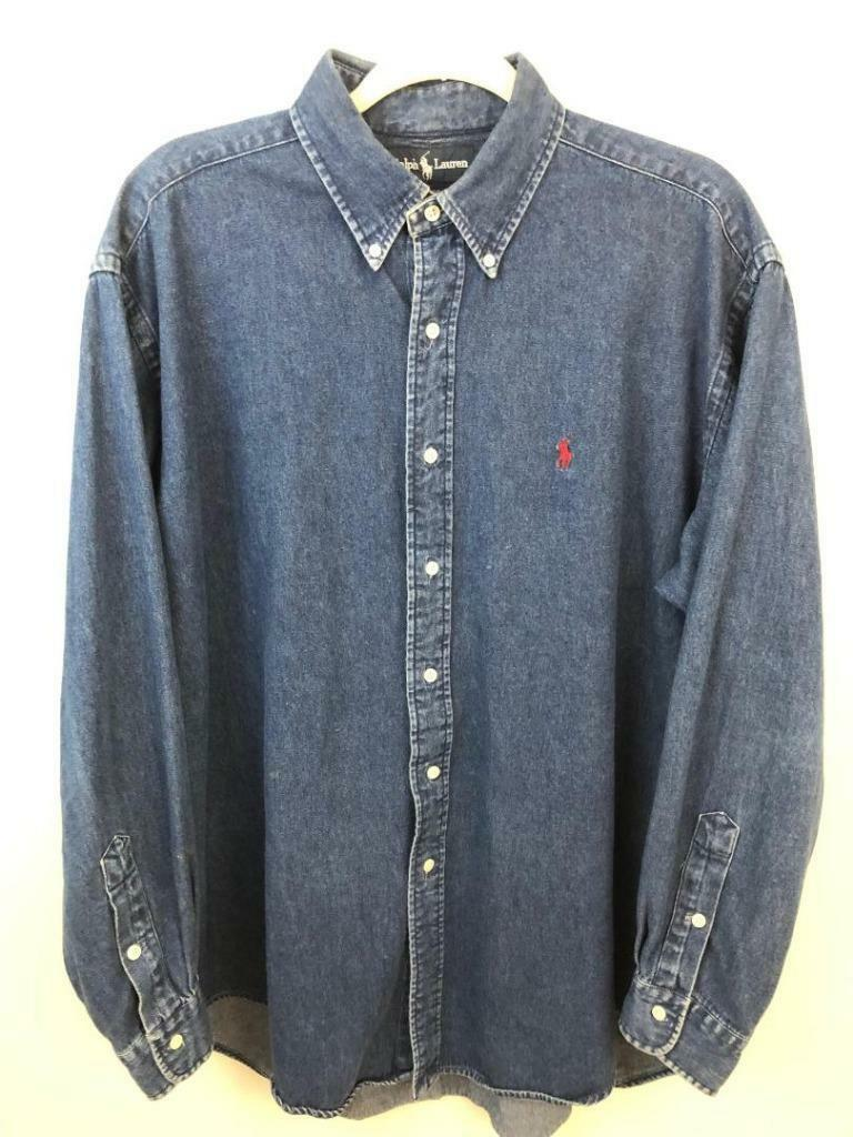 Polo Ralph Lauren Red Pony Denim Shirt L 53 Chest VTG Long Sleeves Fast Free S H