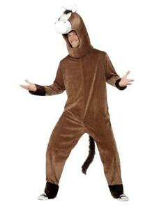 Horse-Costume-Adult-2-Pc-Br-Zippered-Front-Animal-Jumpsuit-amp-Headpiece-Lg