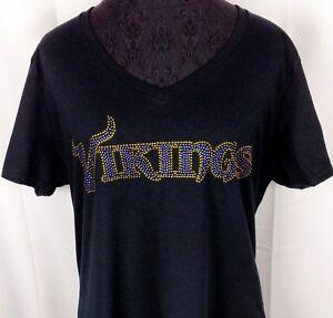Women-039-s-Minnesota-Vikings-Rhinestone-Football-T-Shirt-Tee-Bling-Lady