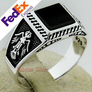 Turkish-Handmade-925-Sterling-Silver-Onyx-Stone-Ottoman-Men-039-s-Ring-All-Sizes