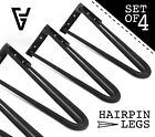 Hairpin Table Legs, Set of 4,Raw Steel, Industrial, Mid Century Modern 2&3 prong
