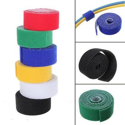 25mm x 1 Metre Reusable Cable Tie Wrap Strap Roll Strapping Tidy multi Colour