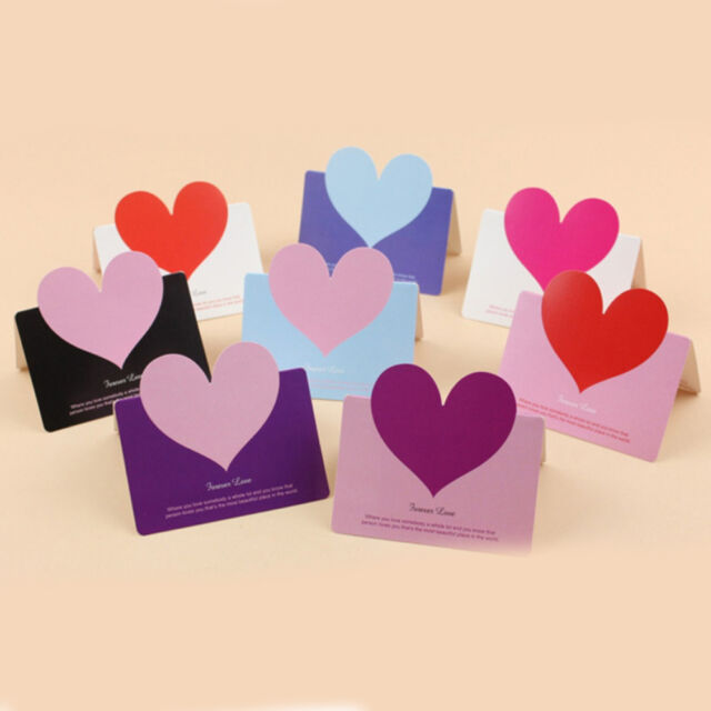 10pcs Christmas Birthday Cards Message Card Envelope Heart Shaped