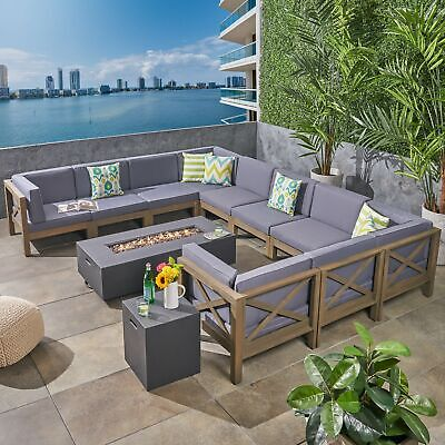 Cytheria Outdoor Sectional Sofa Set with Fire Pit 12-Piece 10-Seater Acacia  Wood | eBay