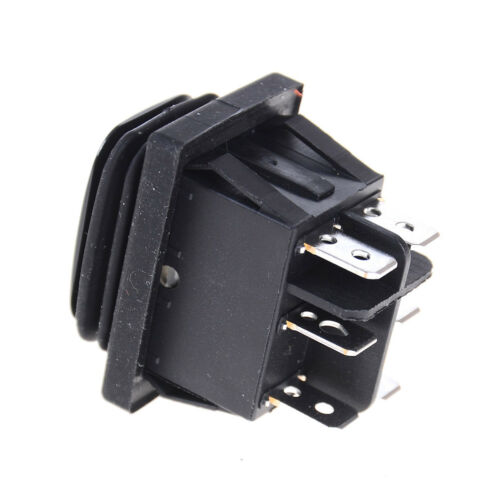 12V Black Waterproof 6Pin DPDT Self Locking Rectangle Rocker Switch HC