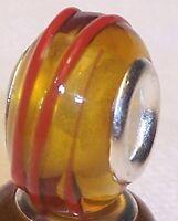 Honey Amber Red Orange Murano Glass Bead Gift For Silver European Charm Bracelet
