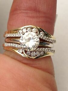 Image Is Loading 14k Yellow Gold Solitaire Enhancer Round Diamonds Ring
