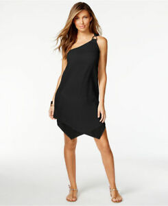 3edb9e3336 Image is loading Michael-Kors-black-one-shoulder-beach-dress-Cover-