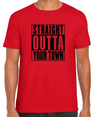 "CUSTOMISABLE STRAIGHT OUTTA /""YOUR TOWN/"" T-SHIRT Gildan Branded not compton"