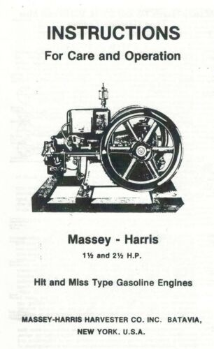 Massey-Harris 1 1//2 and 2 1//2 Hp Hit /& Miss Gas Engine Book Parts List Motor