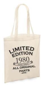 40th Birthday Gift Tote Shopping Cotton Fun Bag Vintage 1980 All Original Parts
