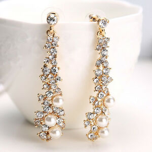 Image Is Loading Long Crystal Drop Earrings Diamante Bridal Pearl Rhinestone