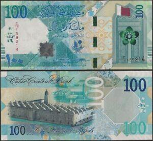 Qatar PNew B223 100 Riyal 2020 Dhow/Flag/Al Qubaib Mosque @ EBS