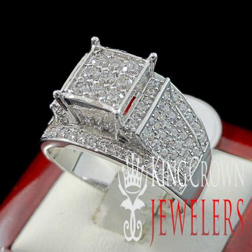 WOMEN/'S LADIES 14K WHITE GOLD FINISH LAB DIAMOND ENGAGEMENT WEDDING RING BAND