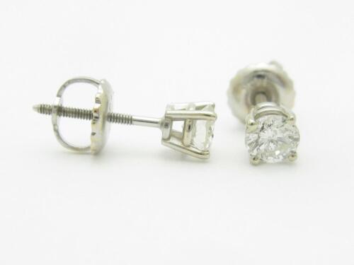 14k or Blanc Véritable Diamant .25ct Rond Visse à L/'Arrière Clous D/'Oreilles