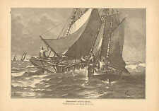 Liquor Trade On The Open North Sea, Schnaps, Vintage 1889 German Antique Print