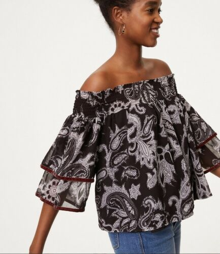 NWT Ann Taylor LOFT Velvet Trim Off Shoulder Top  $59  NEW  Black Paisley