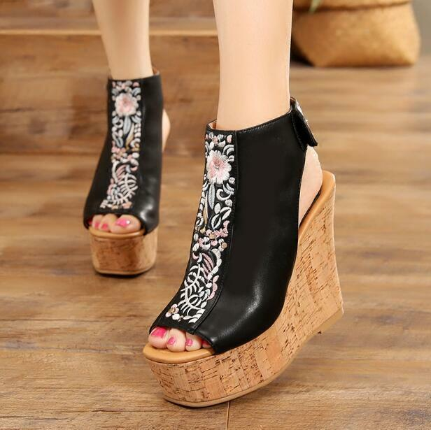 Womens Fashion Open Toe Sandals Wedge High Heels Retro Ethnic Embroidery shoes