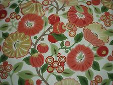 "SANDERSON CURTAIN  FABRIC  DESIGN ""Tree Poppy"" 3.4 METRES TOMATO & OLIVE (340CM)"