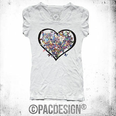 T-SHIRT DONNA BUTTERFLY FARFALLE HEART CUORE WHY SO VINTAGE CL0006A