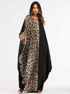 2019new Women Plus Size Clothes Loose Leopard Print Muslim Robe