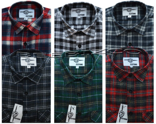 New Mens Yarn Dyed Flannel Lumberjack Check Brushed Cotton Work Shirt M 3XL
