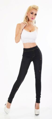 Pantaloni JEANS JEGGINGS Treggings Stretch Jeans A Sigaretta Denim crepe alta federale