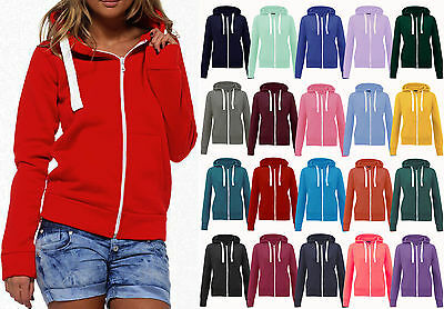 Gut New Ladies Womens Plain Hoodie Hooded Zip Top Zipper Sweatshirt Jacket Coat Krankheiten Zu Verhindern Und Zu Heilen