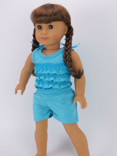 "Blue ruffle shorts outfit 18"" doll clothes fits American Girl"